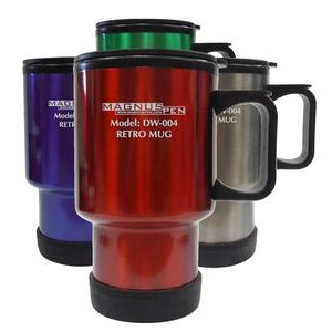 14 Oz. Sculptured stainless steel dbl wall insulated Travel Mug (3-5 Days)